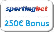 sportingbet Gutschein 250€ Bonus